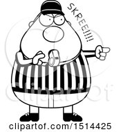Black And White Chubby Male Referee Blowing A Whistle