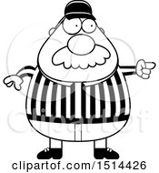 Clipart Of A Black And White Chubby Male Referee With A Mustache Pointing Royalty Free Vector Illustration