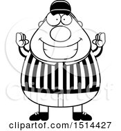 Clipart Of A Black And White Chubby Male Referee Gesturing Good Royalty Free Vector Illustration