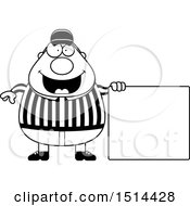 Clipart Of A Black And White Chubby Male Referee By A Blank Sign Royalty Free Vector Illustration