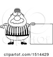Clipart Of A Black And White Chubby Male Referee With A Mustache Standing By A Sign Royalty Free Vector Illustration