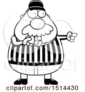 Clipart Of A Black And White Chubby Male Referee With A Mustache Blowing A Whistle Royalty Free Vector Illustration