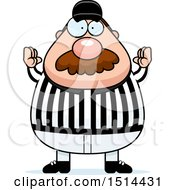 Clipart Of A Chubby Male Referee With A Mustache Gesturing Good Royalty Free Vector Illustration by Cory Thoman