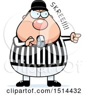 Clipart Of A Chubby Male Referee Blowing A Whistle Royalty Free Vector Illustration