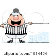 Clipart Of A Chubby Male Referee By A Blank Sign Royalty Free Vector Illustration