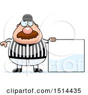 Clipart Of A Chubby Male Referee With A Mustache Standing By A Sign Royalty Free Vector Illustration