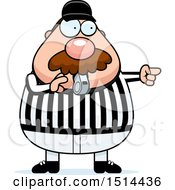Clipart Of A Chubby Male Referee With A Mustache Blowing A Whistle Royalty Free Vector Illustration