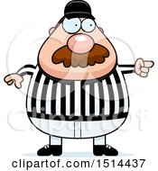 Clipart Of A Chubby Male Referee With A Mustache Pointing Royalty Free Vector Illustration