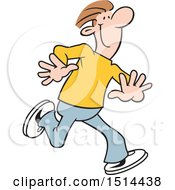 Cartoon Happy Man Running