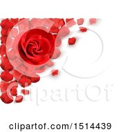 Clipart Of A 3d Red Rose And Petals Over Shaded White Royalty Free Vector Illustration