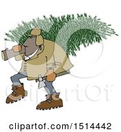 Cartoon Black Man Carrying A Fresh Cut Christmas Tree