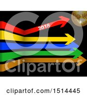 Clipart Of A 3d Gold Disco Ball With Colorful Arrows One Pointing Up With New Year 2018 On Black Royalty Free Vector Illustration