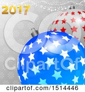 Clipart Of 3d Starry Christmas Bauble Ornaments With 2017 Over Snowflakes And Stars Royalty Free Vector Illustration