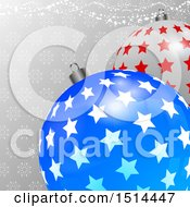 Clipart Of A 3d Starry Christmas Bauble Ornaments Over Snowflakes And Stars Royalty Free Vector Illustration