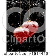 Clipart Of 3D Heart Shaped Christmas Ornaments Suspended Over Snow On Black Royalty Free Vector Illustration