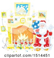Christmas Santa Claus Holding A Sack By A Fireplace