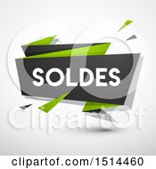 Clipart Of A Green And Gray Soldes Sales Design Banner On A Shaded Background Royalty Free Vector Illustration by beboy