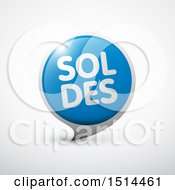 Clipart Of A Silver And Blue Soldes Sales Design On A Shaded Background Royalty Free Vector Illustration by beboy