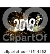 Clipart Of A 3d New Year 2018 And Champagne Bottle Over Fireworks Royalty Free Vector Illustration by beboy