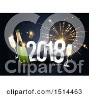 Clipart Of A 3d New Year 2018 And Champagne Over Fireworks Royalty Free Vector Illustration by beboy