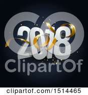 3d New Year 2018 Design With A Golden Ribbon And Sparkles On Dark Blue