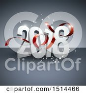 Clipart Of A 3d New Year 2018 Design With A Red Ribbon And Sparkles On Gray Royalty Free Vector Illustration by beboy