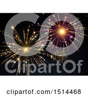 Clipart Of A Colorful New Year Fireworks Background Royalty Free Vector Illustration by beboy