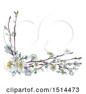 Poster, Art Print Of Corner Border Of Branches With White Spring Blossoms