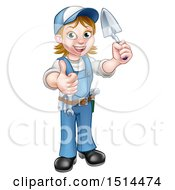 Poster, Art Print Of Full Length White Female Mason Worker Holding A Trowel And Giving A Thumb Up