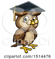 Clipart Of A Wise Professor Owl With Glasses And Graduation Cap Royalty Free Vector Illustration by AtStockIllustration