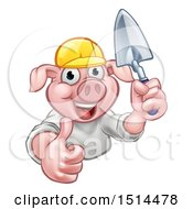 Clipart Of A Happy Pig Mascot Mason Holding A Trowel Royalty Free Vector Illustration by AtStockIllustration