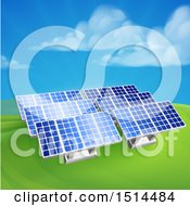 Clipart Of Green Energy Solar Panels In A Hilly Landscape Royalty Free Vector Illustration