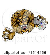 Clipart Of A Leaping Male Lion Holding A Video Game Controller Royalty Free Vector Illustration