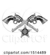 Clipart Of A Black And White Woodcut Etched Or Engraved Sheriff Star And Crossed Vintage Revolver Pistols Royalty Free Vector Illustration by AtStockIllustration
