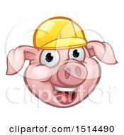 Happy Pig Mascot Face Wearing A Helmet