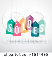 Clipart Of A French Soldes Sales Design With Suspended Colorful Price Tags Royalty Free Vector Illustration by beboy