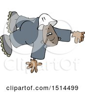Cartoon Black Male Worker Floating Or Flying