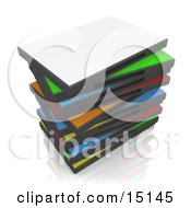 Messy Stack Of Colorful Blank Dvd Or Software Cases Over A Reflective White Background