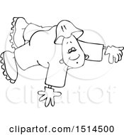 Black And White Cartoon Male Worker Floating Or Flying
