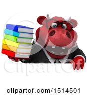 3d Red Business Bull Holding Books On A White Background