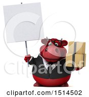 3d Red Business Bull Holding Boxes On A White Background