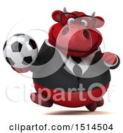3d Red Business Bull Holding A Soccer Ball On A White Background