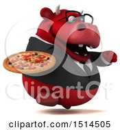 3d Red Business Bull Holding A Pizza On A White Background
