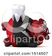 3d Red Business Bull Holding A Tooth On A White Background