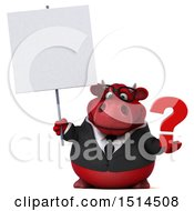 3d Red Business Bull Holding A Question Mark On A White Background