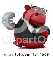 3d Red Business Bull Holding A Euro On A White Background