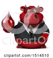 3d Red Business Bull Holding A Blood Drop On A White Background