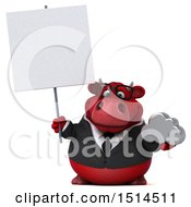 3d Red Business Bull Holding A Cloud On A White Background