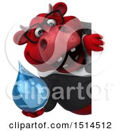 3d Red Business Bull Holding A Water Drop On A White Background