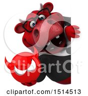 3d Red Business Bull Holding A Devil On A White Background